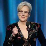 La multipremiada actriz Meryl Streep, durante su discurso de homenaje en los Globos de Oro 2017