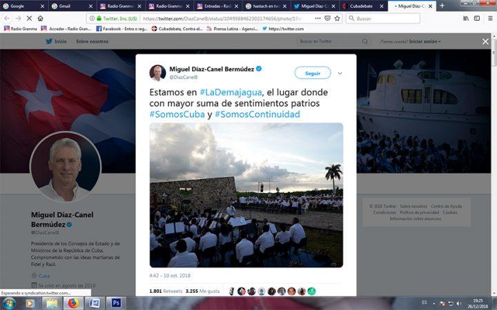 Desde La Demajagua, Díaz-Canel estrenó su cuenta en la red social Twitter y lanzó el hashtag #SomosCuba // Foto de la cuenta Twitter