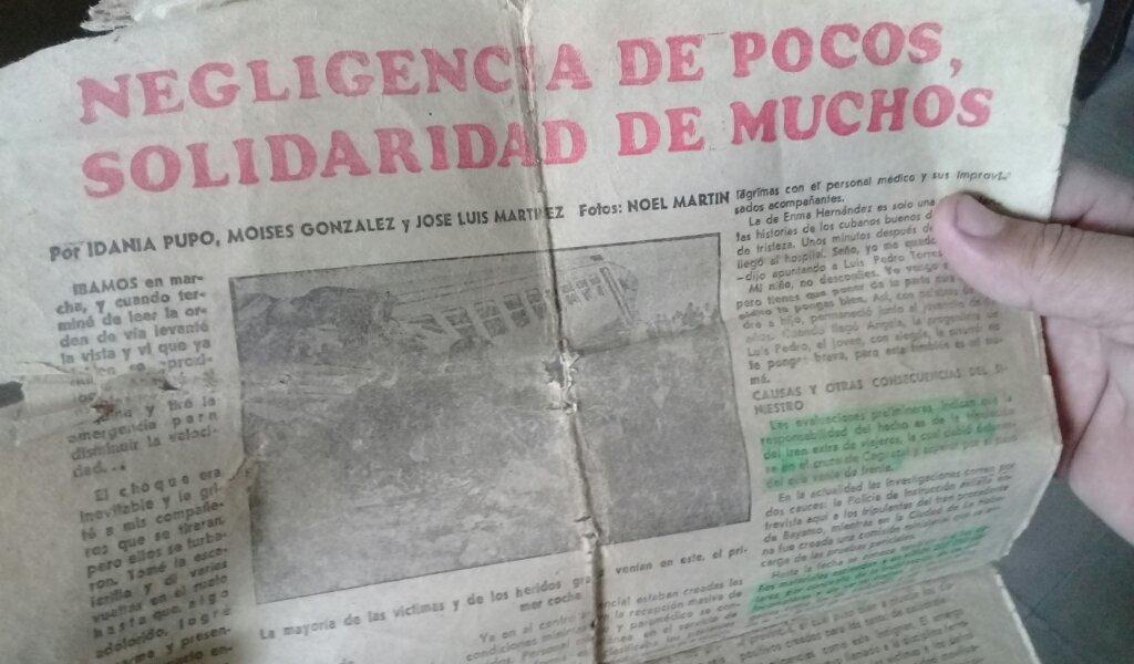 Fragmento del periódico Invasor de Ciego de Ávila de la edición del 15 de febrero de 1997 donde se narró la solidaridad del pueblo de Caguasal en Ciego de Ávila que protagonizó las 270 donaciones voluntarias de sangre para los heridos del accidente ferroviario //Foto Eliexer Pelaez Pacheco